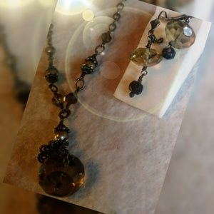 Lori Lori Smokey Quartz and Pearl Set